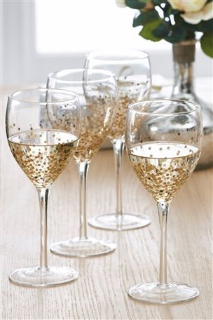 Set Of 4 Gold Glimmer Wine Glasses Glass Painting Painted Wine