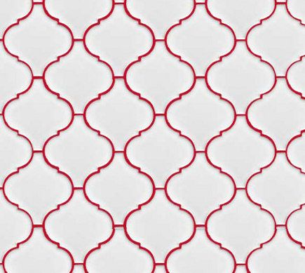 white lantern or arabesque tile set with red grout this would look great with blue