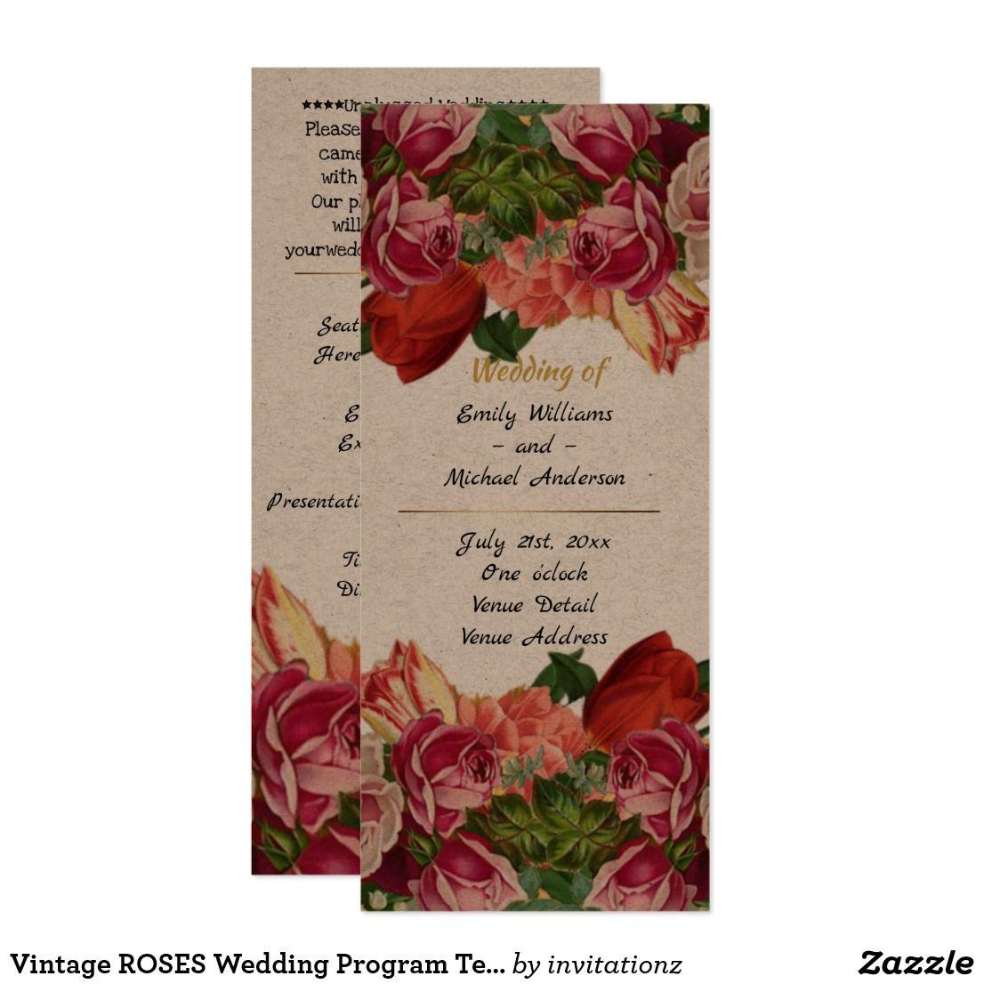 Vintage ROSES Wedding Program Template Kraft | Trending Wedding ...