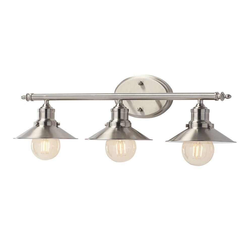 Wall Lights Home Depot home decorators collection 3-light brushed nickel retro vanity