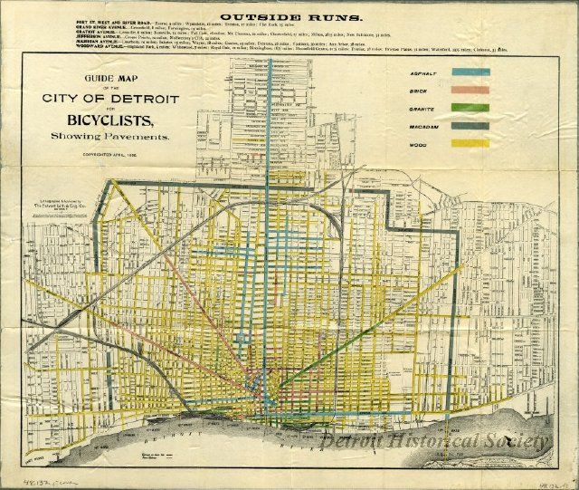 Cyclists were some of the strongest early advocates for asphalt pavements due to their smooth, comfortable ride. This 1896 bicycling map of Detroit highlights the asphalt roads.