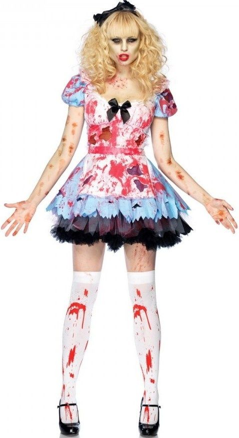 Ladies Horror Alice In Zombieland Fancy Dress Up Party Halloween Zombie Malice