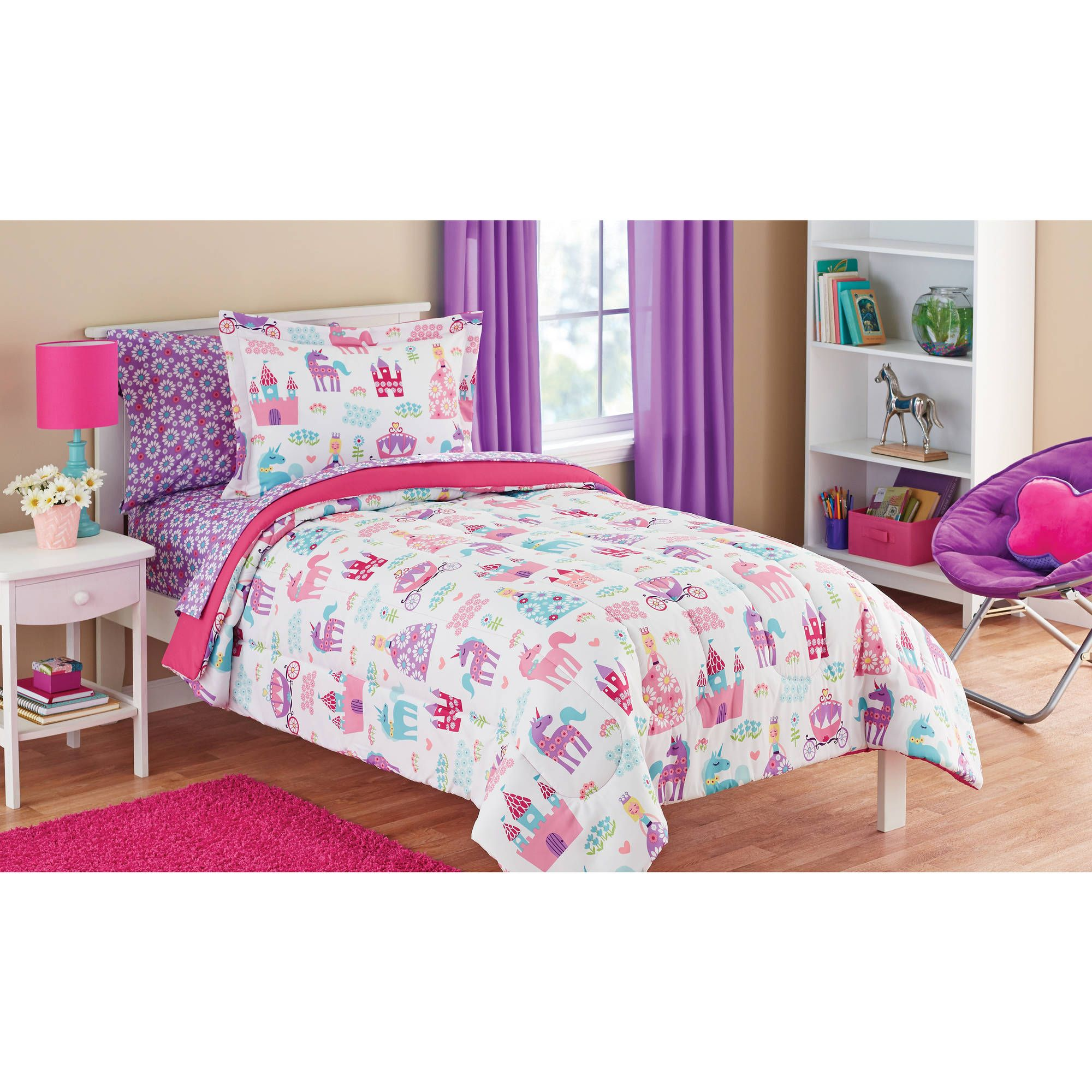 Buy Mainstays Kids Pretty Princess Bed In A Bag Bedding Set At Adorable Kids Bedroom Set Review