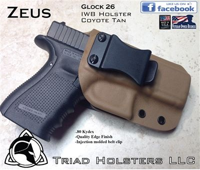 Glock 26 Inside the Waistband Holster with a injection molded belt clip. Available in Tactical Black, Coyote Tan, and Neon Pink.