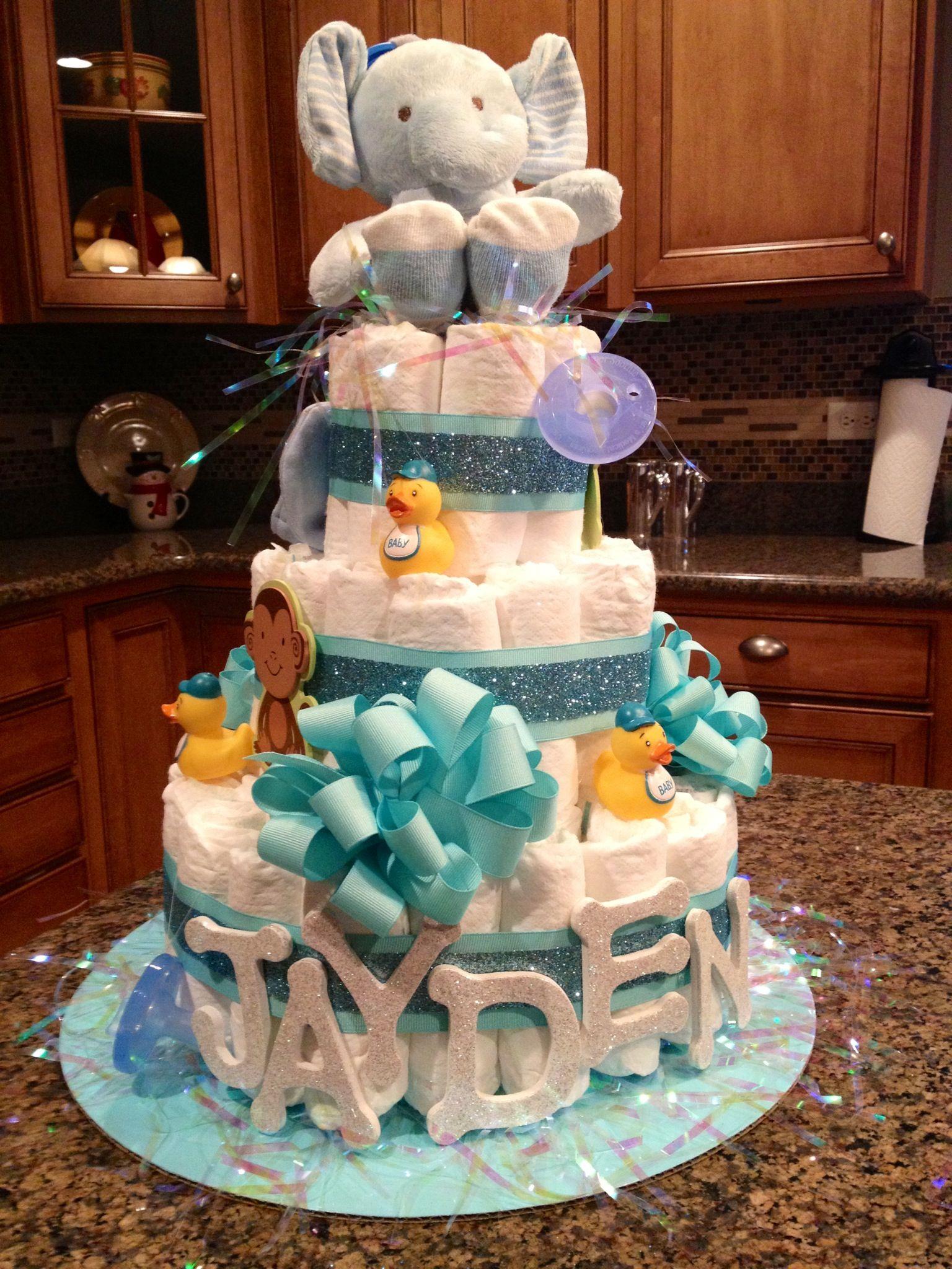Baby Boy Diaper Cake | Baby diaper cake, Baby diaper cake boy