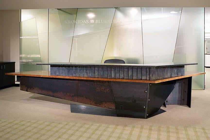 reception desk steelbronze granite wood tables and desks - Reception Desks
