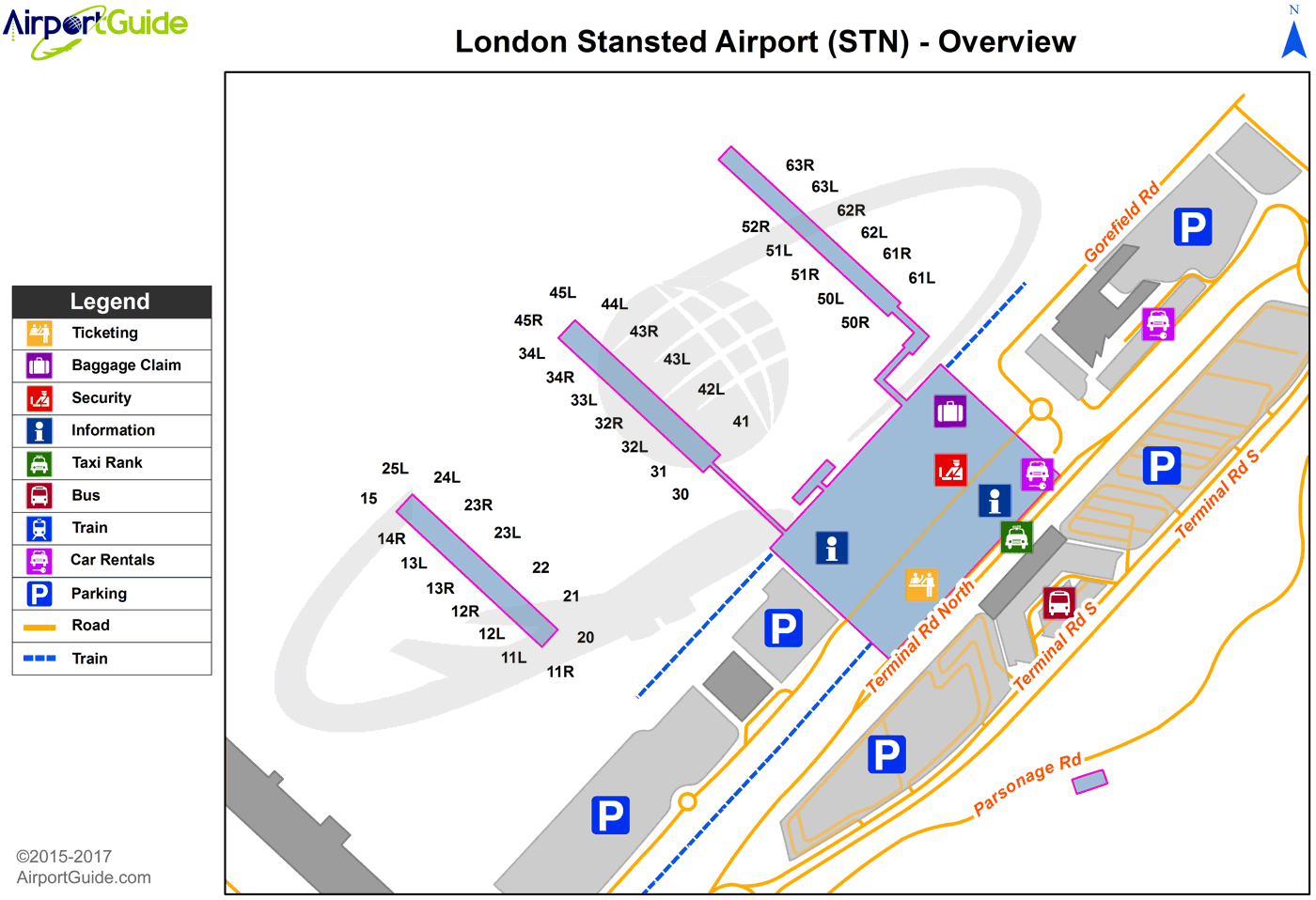 London London Stansted Stn Airport Terminal Map Overview