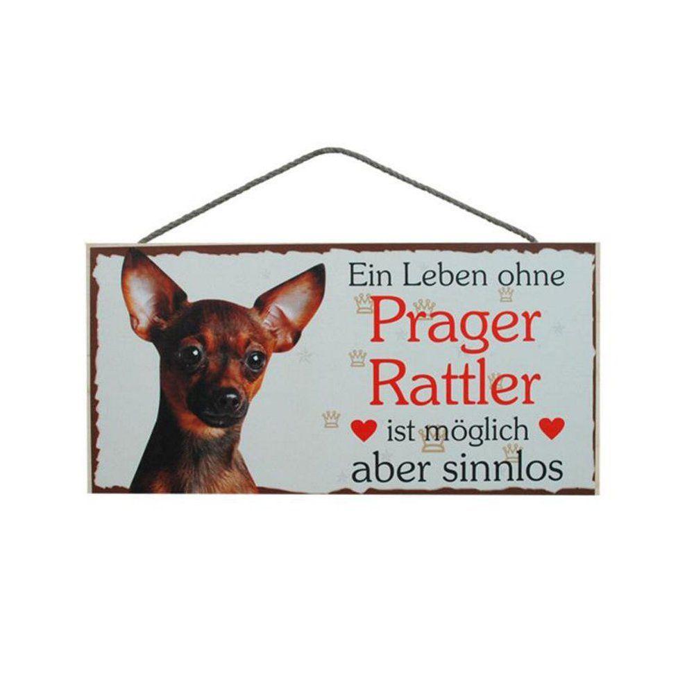 Tierschild Hund Holzschild Türschild Prager Rattler