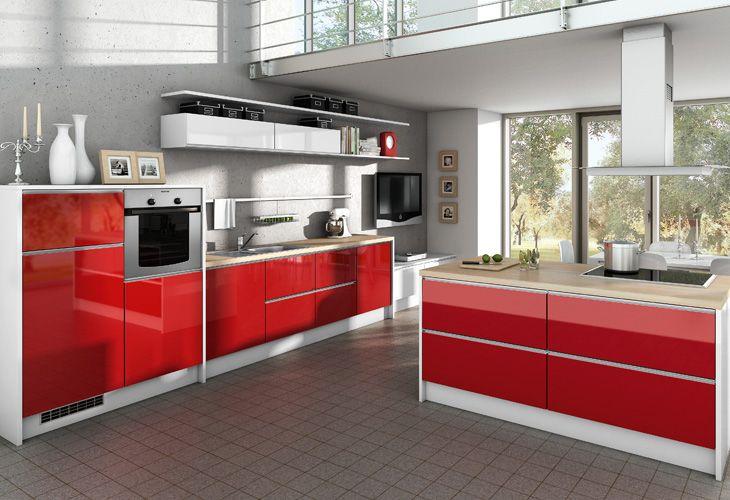 Küche in Rot #Kücheninsel #Designerküche wwwdyk360-kuechende - küche aus holz