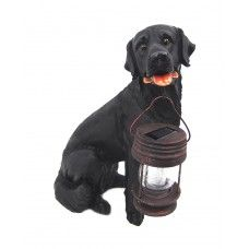 Black Labrador Dog With Lantern Solar Light