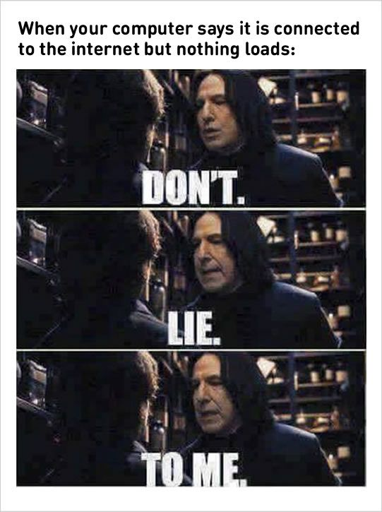 1 Low Space Of Your Laptop Let Your Puppy Give It A Megabite 2 Internet Connection Issue Harry Potter Memes Hilarious Harry Potter Memes Harry Potter Funny
