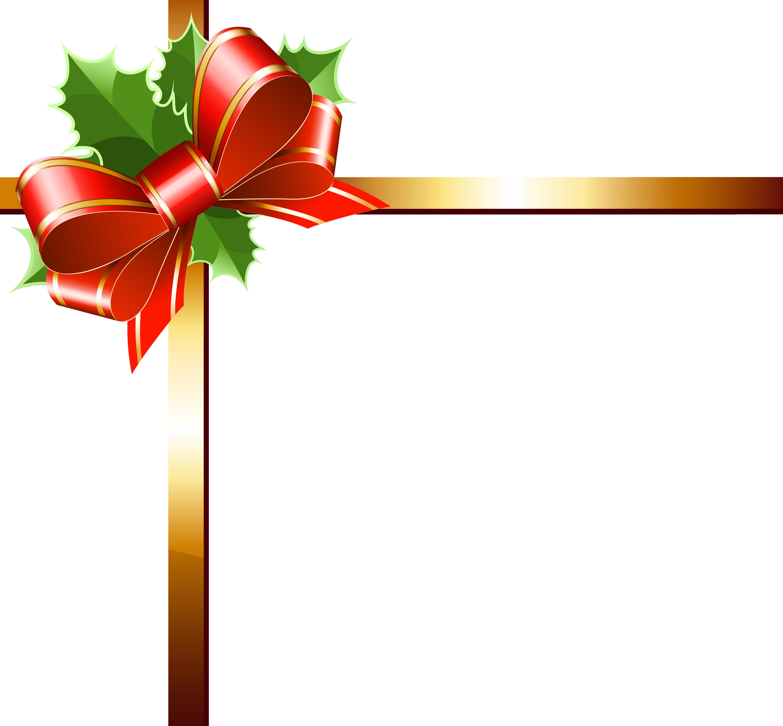 Christmas Gold Ribbon PNG Clipart Image