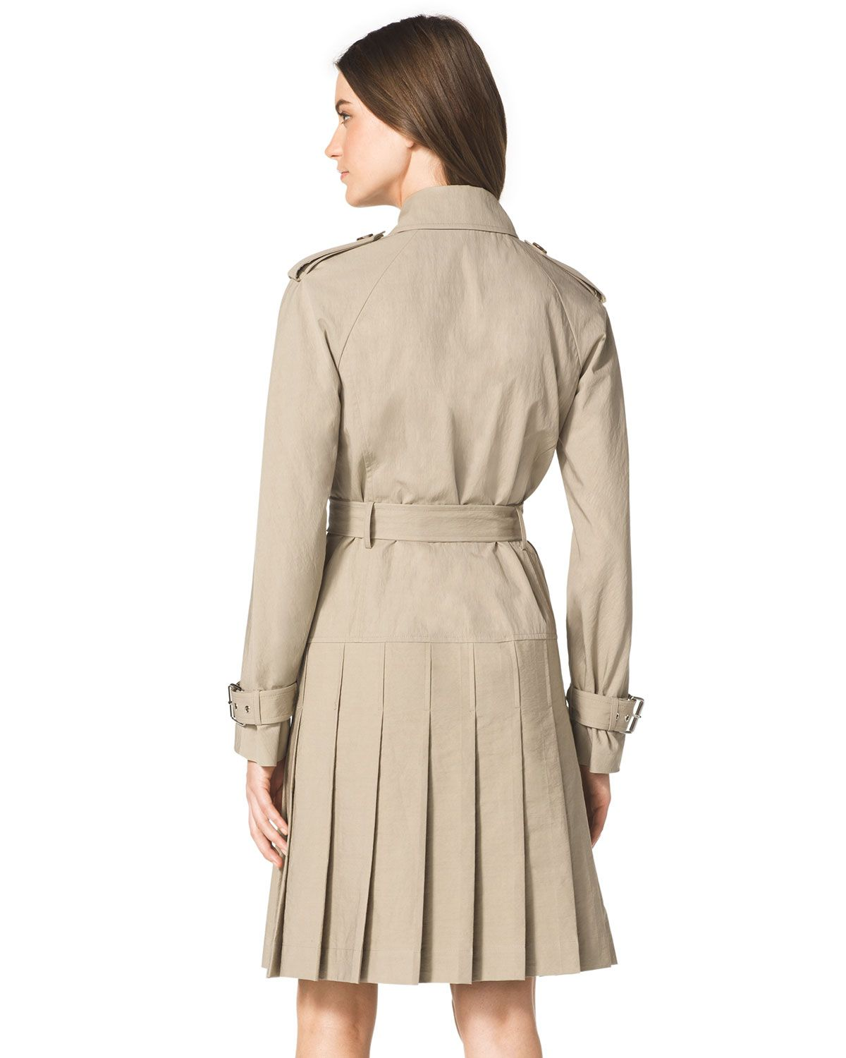 f6e50e5c6 Lyst - Michael Kors Pleated Trenchcoat Dress in Natural | coat dress ...