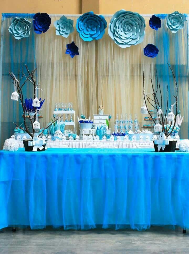 Mesa de dulces para bautizo de ni o crea en 2019 for Mesa de dulces para baby shower nino