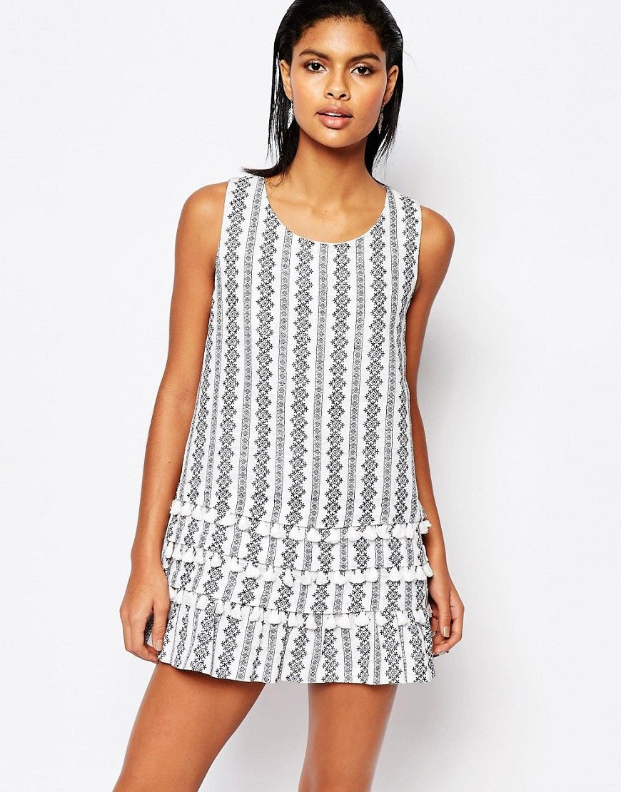 I would wear this as a top  Image 1 ofMoon River Printed Shift Dress with Tassles