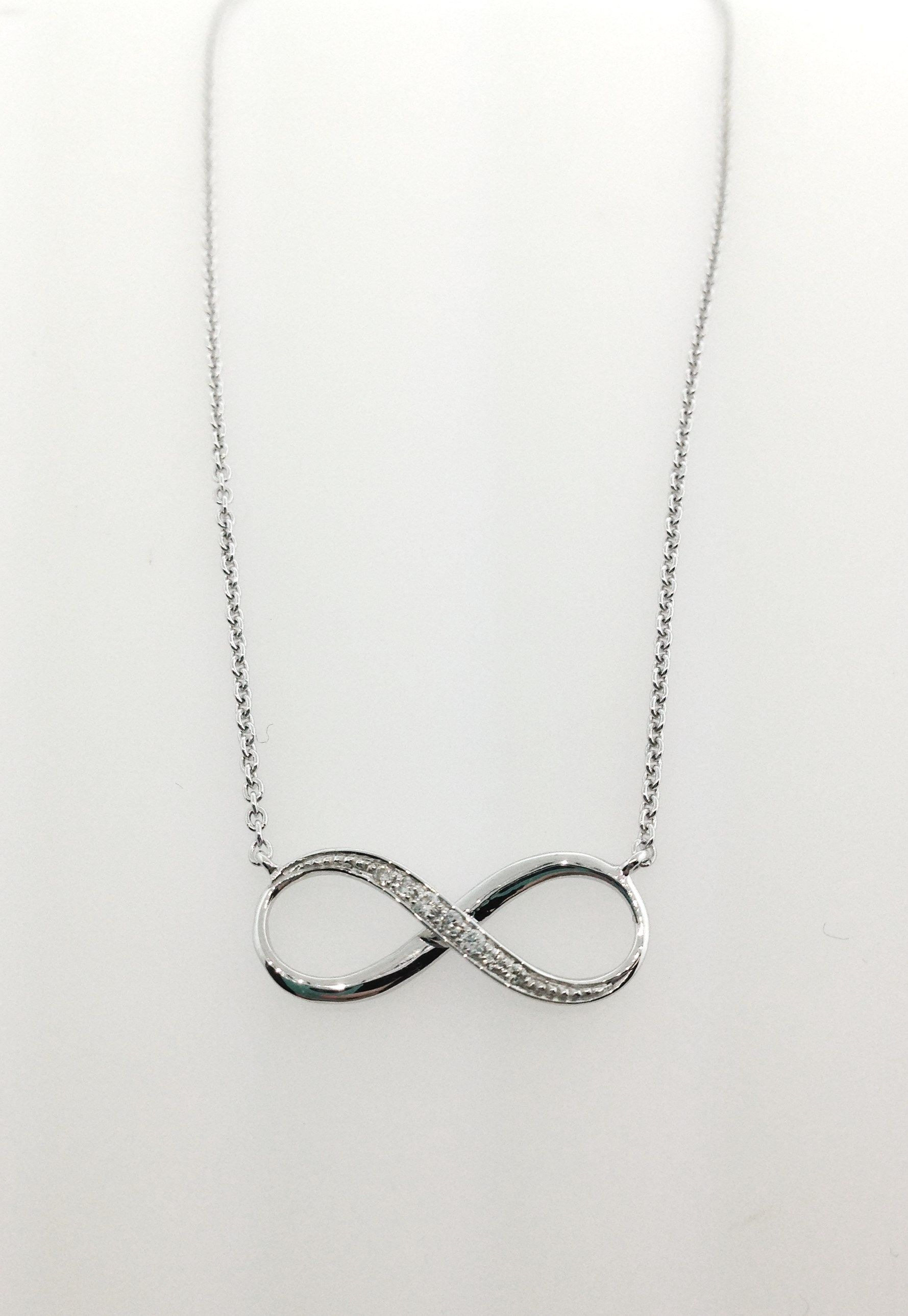 14k White Gold and Diamond Infinity Necklace infinity jewelry
