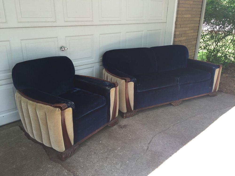 Vintage Antique Art Deco Sofa And Chair Mid Century