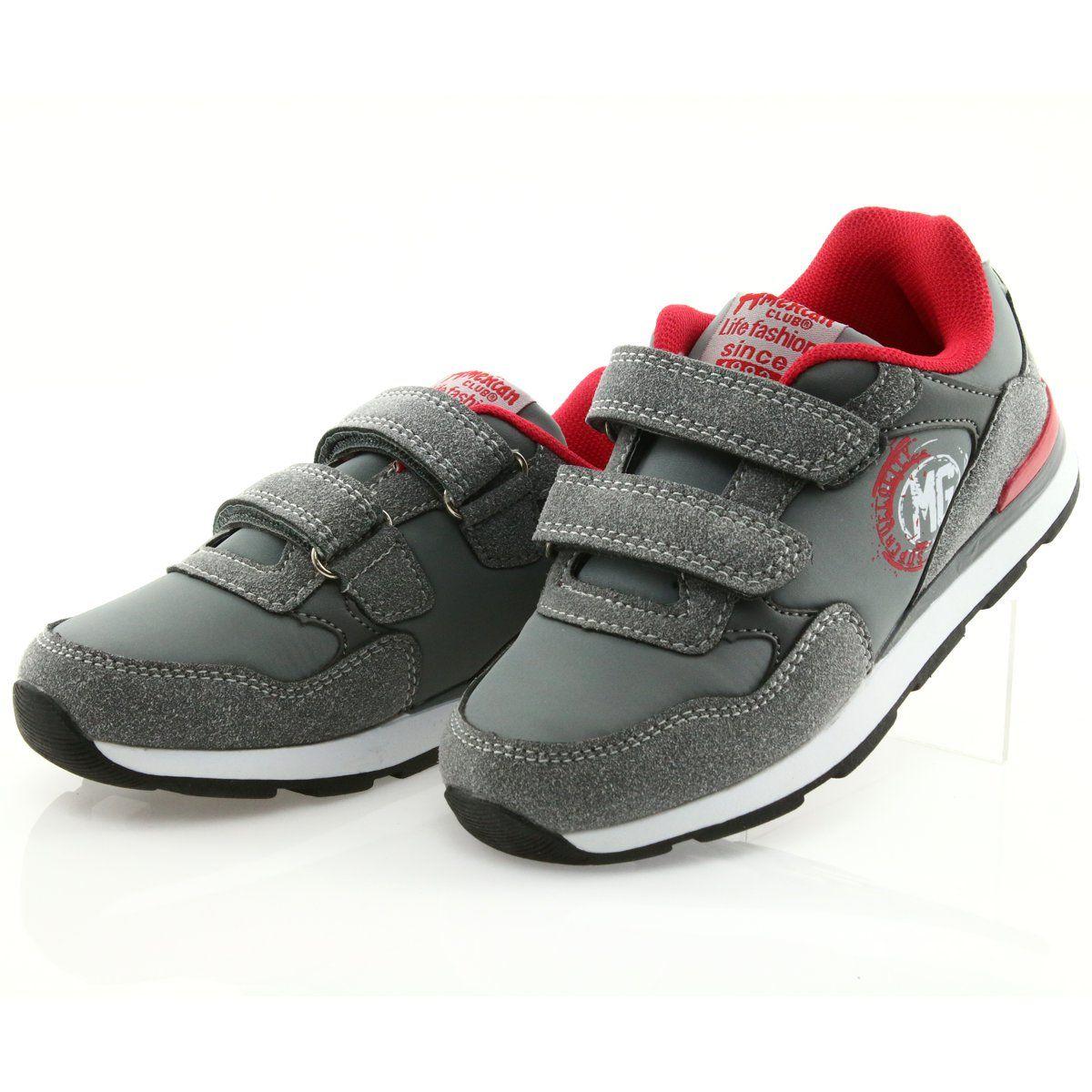American Club Buty Sportowe Wkladka Skorzana American Bs08 Szare Czerwone Sport Shoes Kid Shoes Shoes