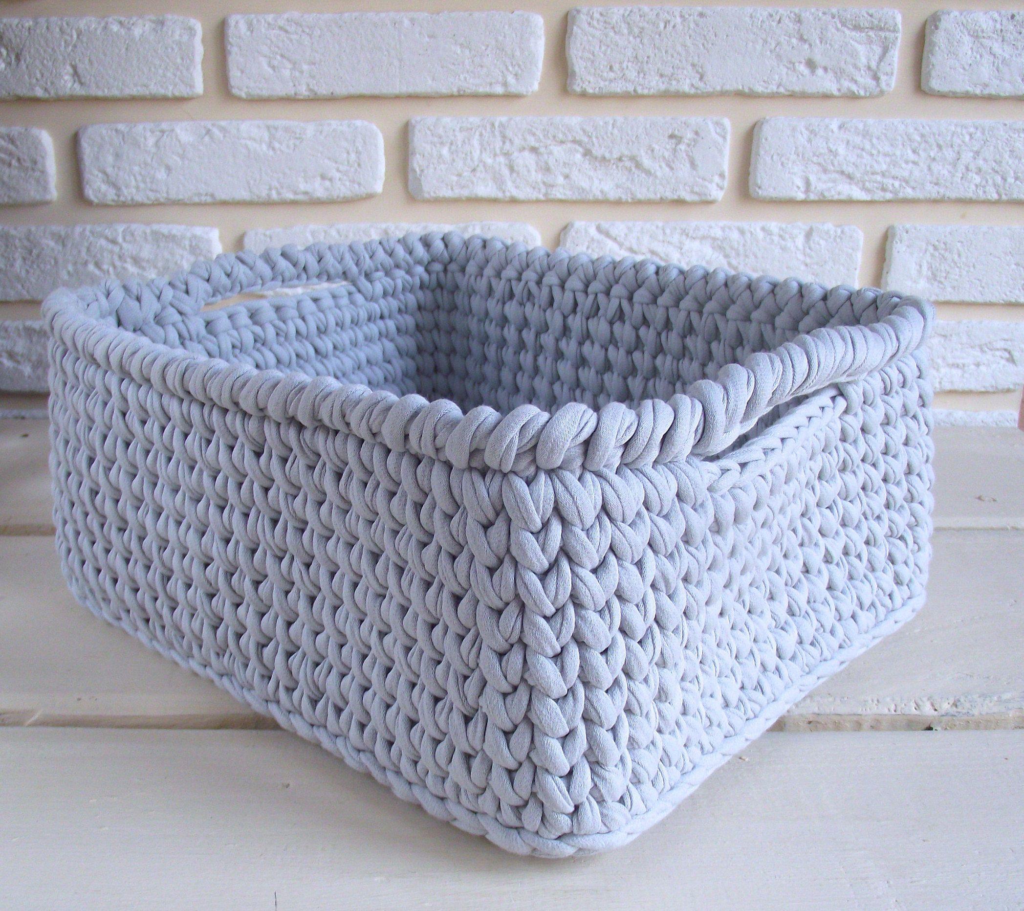 Crocheted Square Storage Basket 100 Cotton Yarn T Shirt