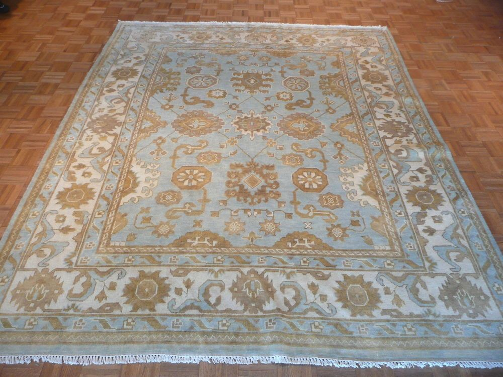 8 X 10 Hand Knotted Light Blue Beige Oushak Oriental Rug