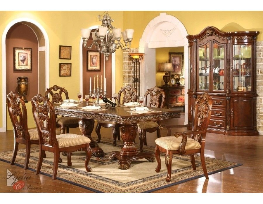 Regalia Classical Wood Formal Dining Set Table 4 2 Arm Chairsdining