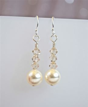 Sterling Silver Rosaline Pale Pink Crystal Handmade Earrings Made With SWAROVSKI ELEMENTS Pearls IGWiwJyYdG
