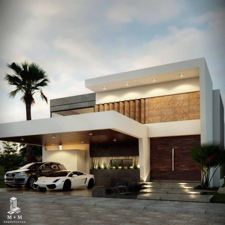 Casa av casas de estilo moderno por m m construcciones for Construcciones minimalistas