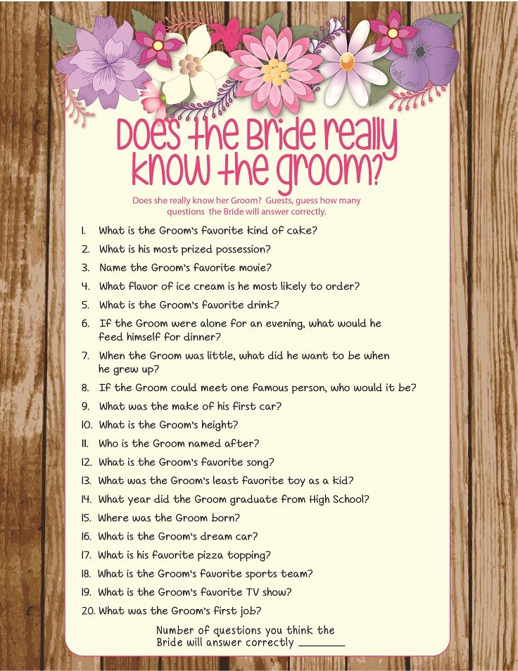 Rustic Floral Bride Know Groom Bridal Shower Game . Pink and Purple Couples Shower Game or Engagement Party Game . D883