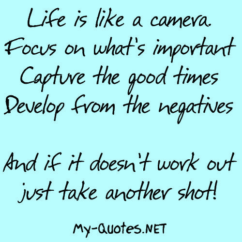 Quotes About Whats Important In Life Glamorous Life Is Like A Camera  Myquotes Quote Quotes Sayings