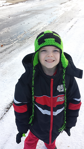 d6476e625b5 Minecraft Creeper Inspired Hat with Optional Ear Flaps and Braids Available  in Small (Toddler