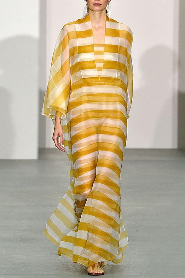 15c1ab4fe6 Fashion Loose Yellow Stripe Maxi Dress  JoyGos  StreetStyle  WomenFashion   womendress  floral  summerdress