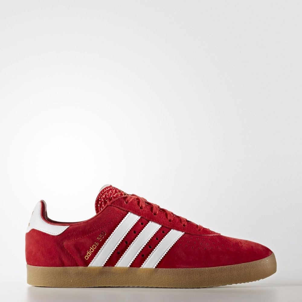Adidas 350 Scarlet Footwear White Mens Suede Originals Trainers Sneakers Shoes