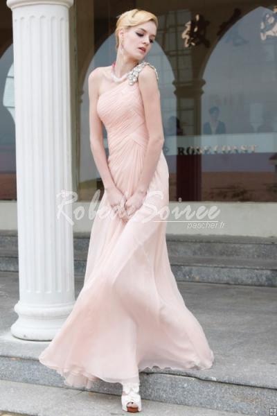 32515eab4c0 Robe de Soirée Longue-Rose pâle une épaule robe de bal