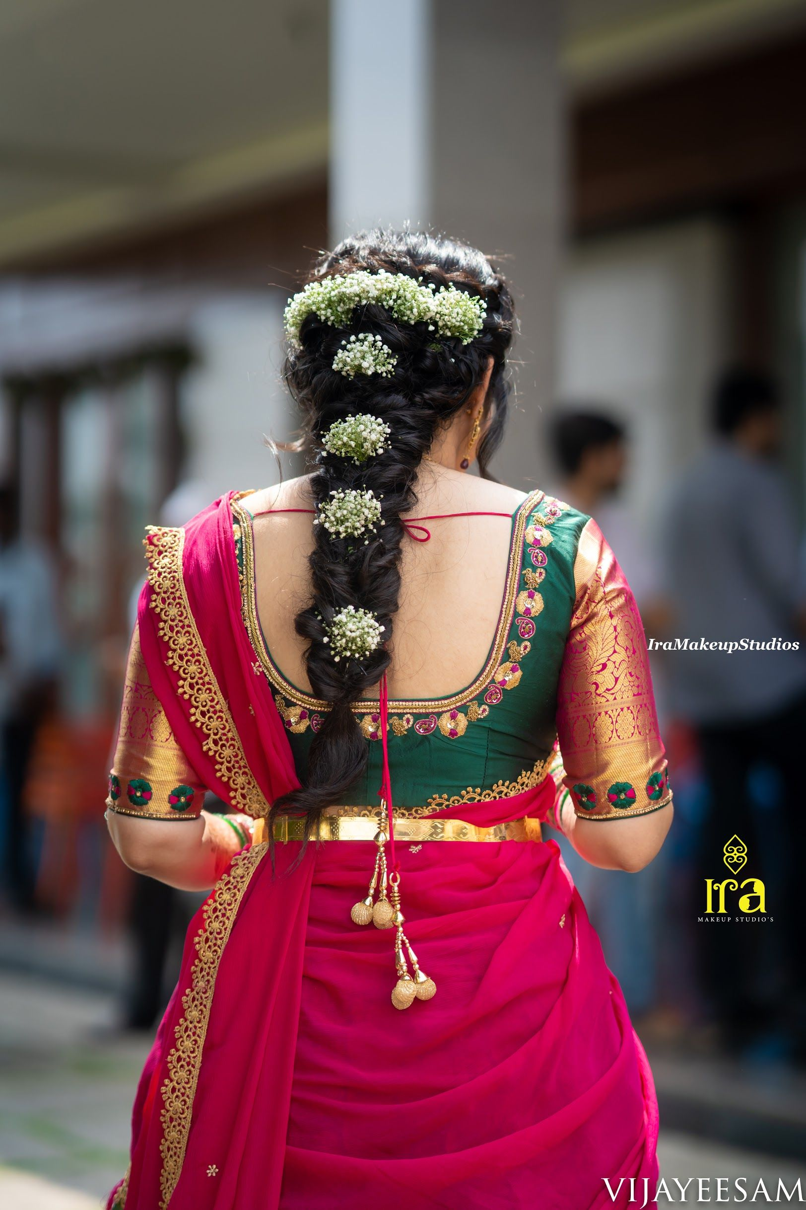 Hair Style Goals Engagement Look Braided Hairstyles For Wedding Indian Bridal Hairstyles Half Saree Designs