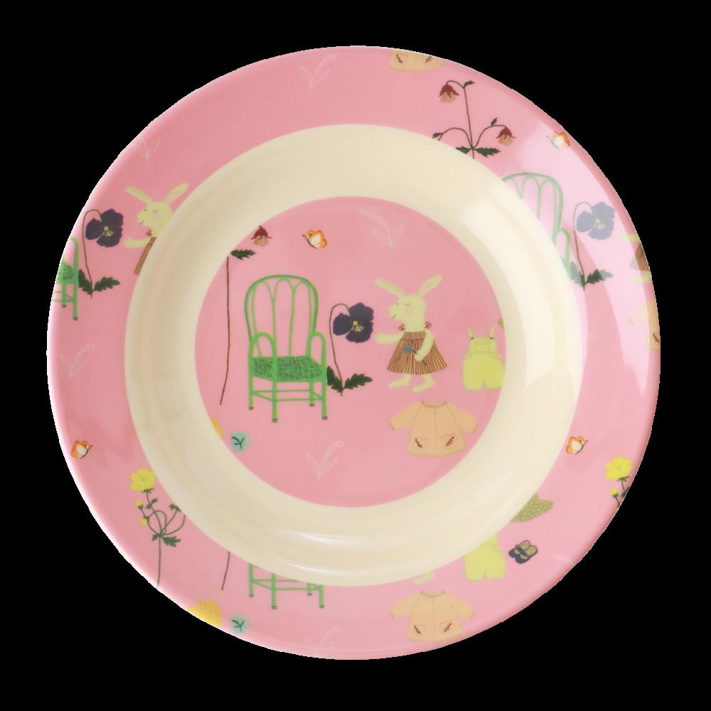 Pink Bunny Rabbit Print Kids Melamine Bowl By Rice Dk Kids Melamine Kids Plates Melamine Bowls
