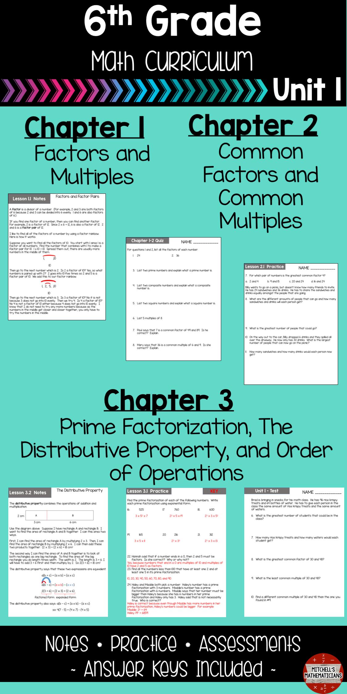 Distributive Property, GCF, LCM, and More 6th Grade Math Curriculum ...