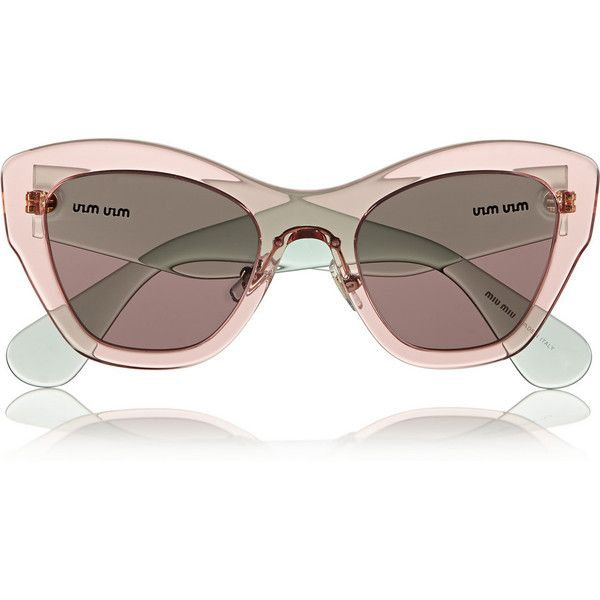 972a616e0a Miu Miu Two-tone cat eye acetate sunglasses ( 180) ❤ liked on Polyvore  featuring accessories