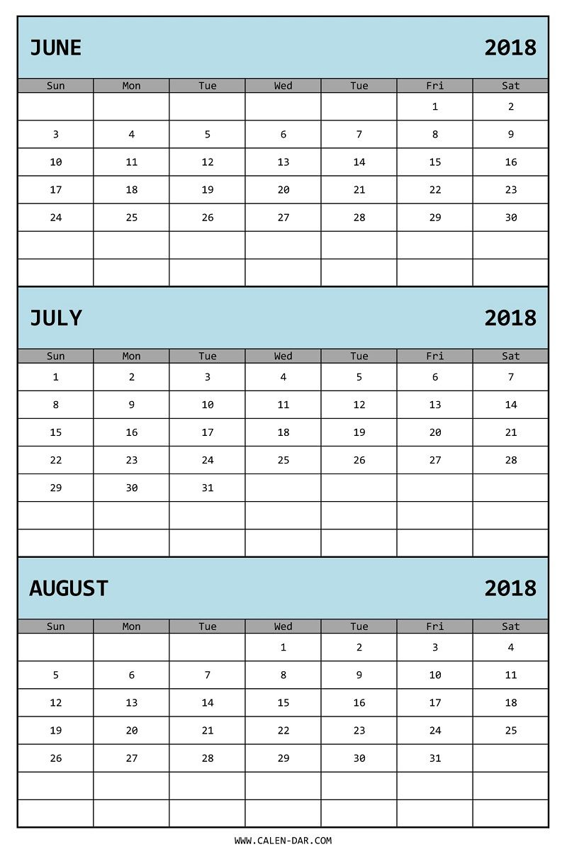 Edit Three Month Calendar 2018 June July August In Ms Excel 2018