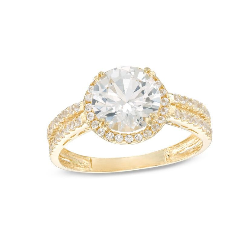 Zales 8.0mm Lab-Created White Sapphire Frame Engagement Engagement Ring in 10K Gold L6hdEBf