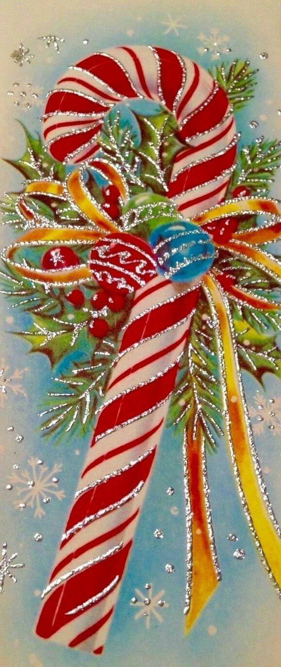 Vintage glittery candycane   Vintage cards   Pinterest   Vintage ...