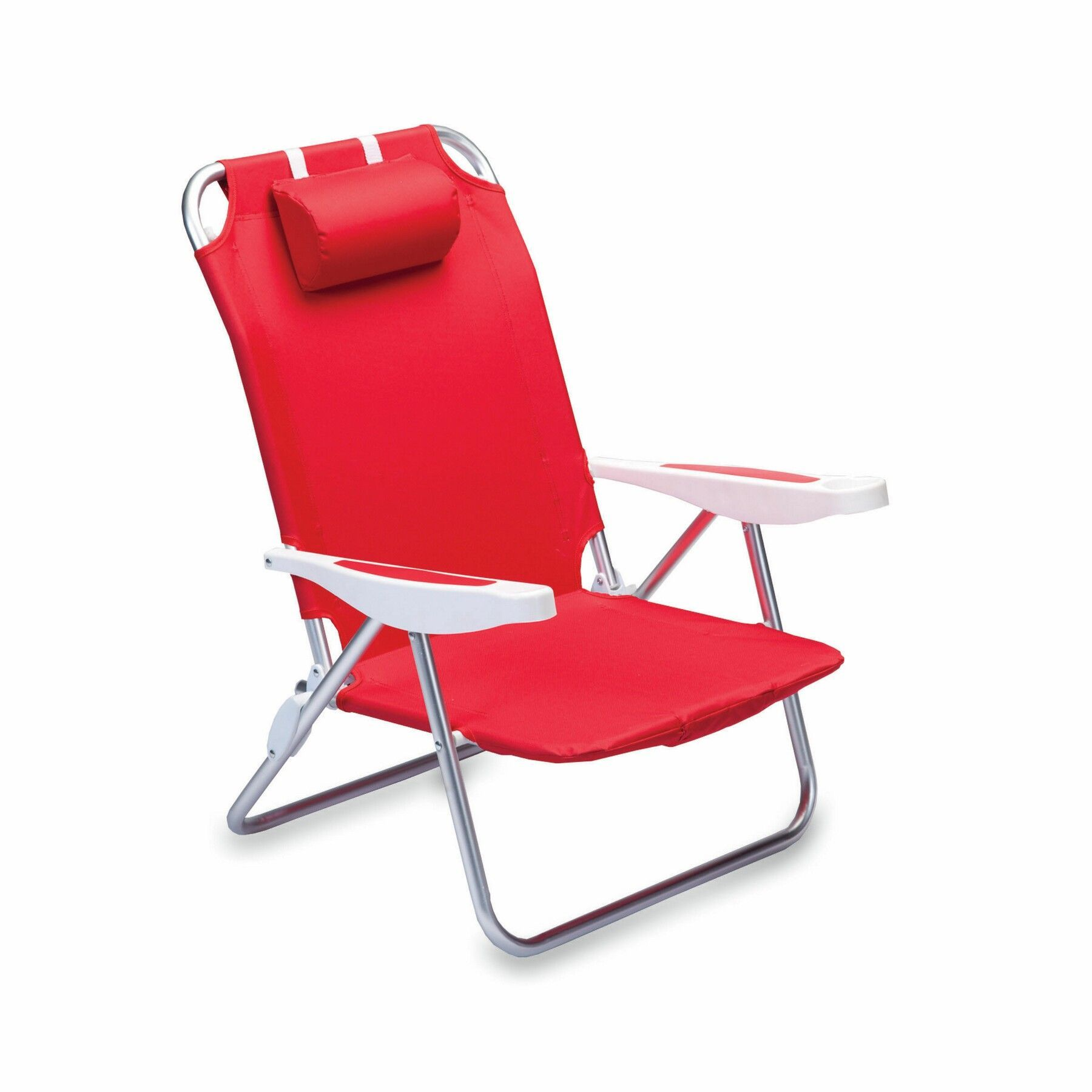 Lightweight and portable reclining beach chair with backpack