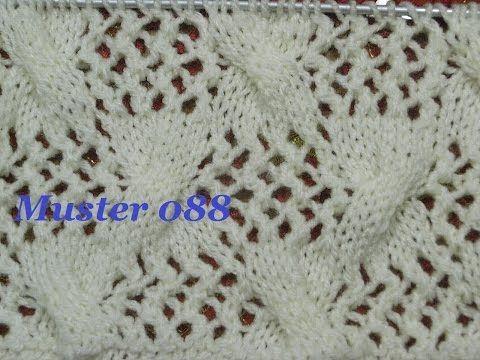 Muster 088*Stricken lernen*Ajourmuster Muster für Pullover Strickjacke Mütze Stirnband - YouTube