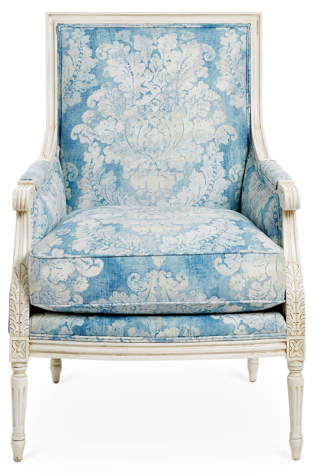 Best James Accent Chair Blue Floral One Kings Lane Accent 640 x 480