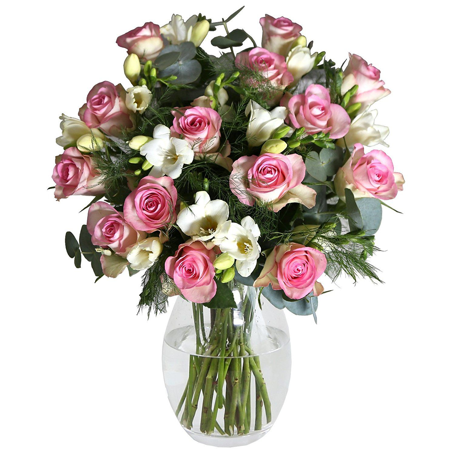 Beautiful pink roses and white freesias handtied more