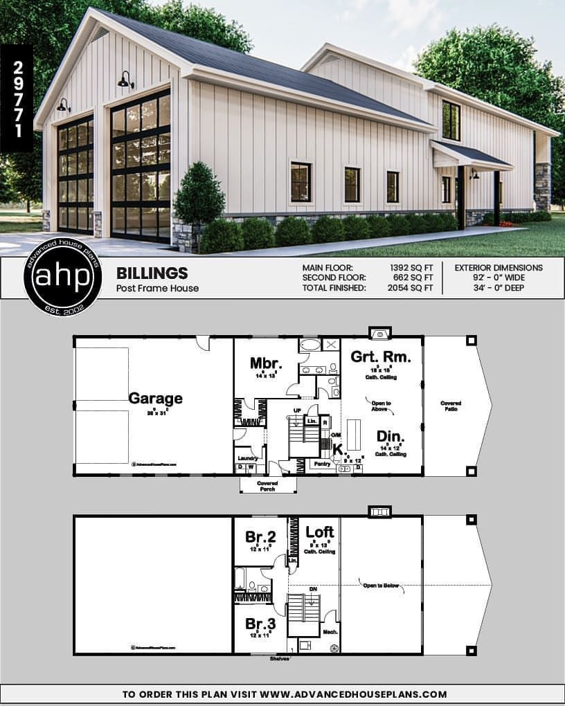 Our Billings Shouse Barndominium Post Frame Home Is Just Stunning Check Out That Two Story Cathedral Ceilin Barn House Plans Barn Style House Shop House Plans