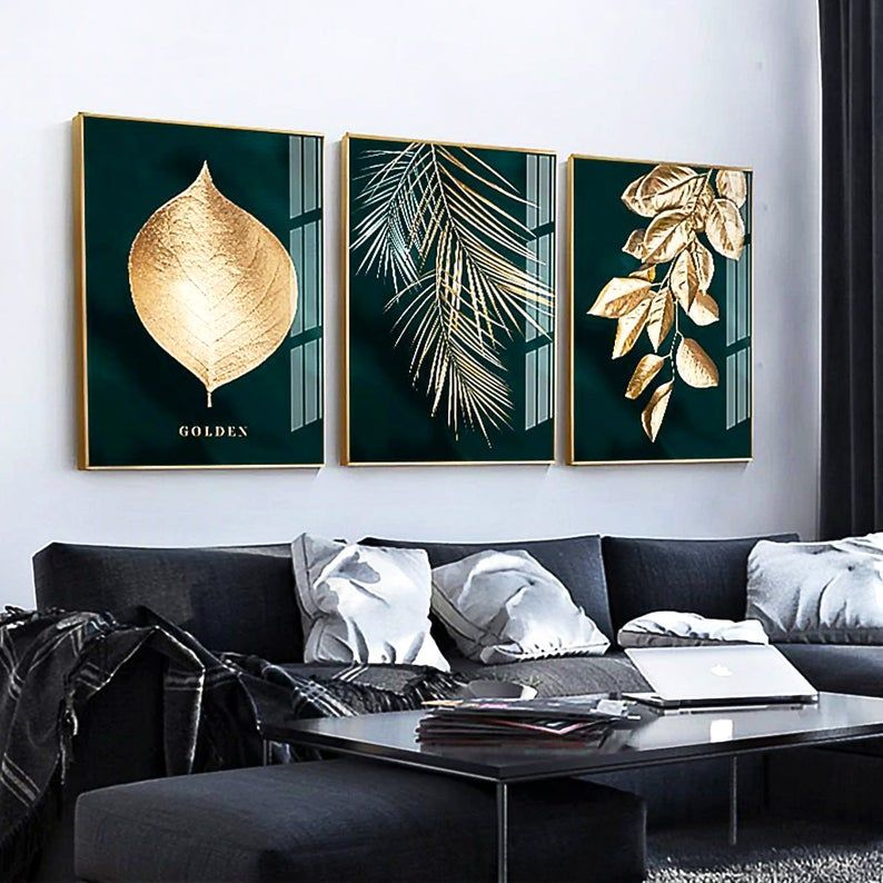 Set Of 3 Prints Golden Tropical Leaf Abstract Botanical Print Bedroom Decor Gift For Her Living Room Decor Wedding Engagement Gift Wall Painting Nordic Decor Abstract Canvas Painting Bedroom decor canvas abstract painting