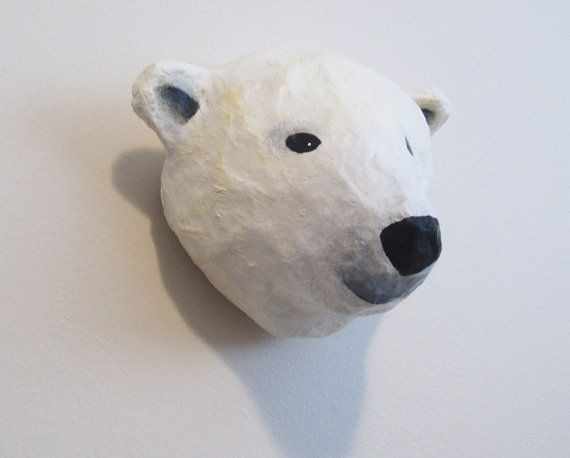 Paper Mache Polar Bear Head Wall Mount Polar Bear Bear Head