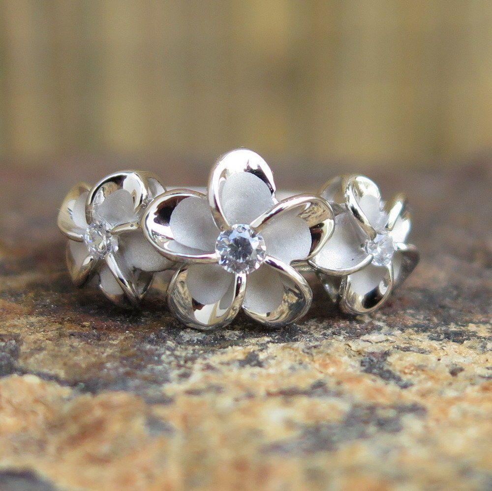 Hawaiian sterling silver three plumeria flowers cz wedding ring band