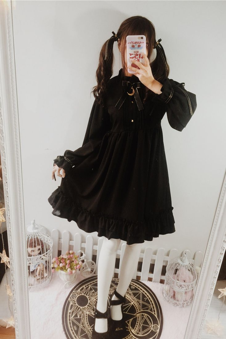 Free shipping buy best dresses for women lolita gothic black retro