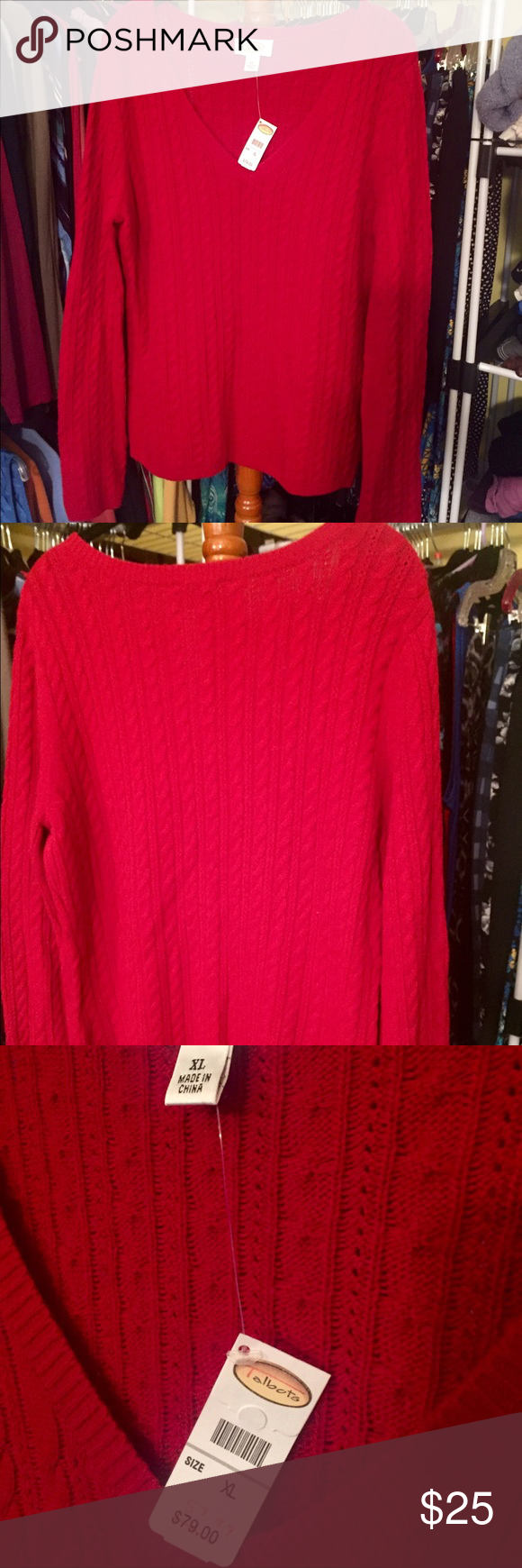 💥BNWT Talbots sweater Here's your holiday sweater! Gorgeous red V-neck, brand new! Buy this so I don't keep it!! 😳 Talbots Sweaters V-Necks